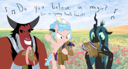 Size: 2400x1300 | Tagged: artist:mightyshockwave, biting, centaur, changeling, changeling queen, choking, cozy glow, doll, do you believe in magic?, female, filly, foal, frenemies (episode), hammer, lord tirek, lyrics, male, nose piercing, nose ring, pegasus, piercing, plushie, pony, queen chrysalis, safe, song reference, spoiler:s09e08, stock image, text, the lovin spoonful, toy, trio