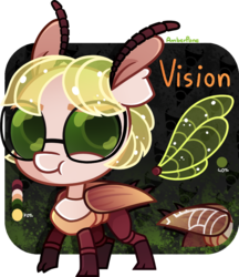 Size: 895x1036 | Tagged: antennae, artist:amberpone, beetle, big head, eyebrows, female, fullbody, glasses, green, green eyes, lighting, lineart, mare, no tail, oc, oc only, oc:vision, oc:vision revision, pony, ponysona, reference sheet, safe, shading, short mane, simple background, standing, transparent background, wings