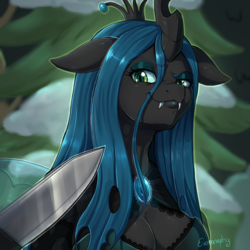 Size: 1500x1500 | Tagged: anthro, artist:evomanaphy, blade, breasts, busty queen chrysalis, changeling, changeling queen, cleavage, clothes, fangs, female, floppy ears, frenemies (episode), knife, knife cat, lidded eyes, looking at you, meme, ponified animal photo, queen chrysalis, safe, smug, solo, spoiler:s09e08, threat