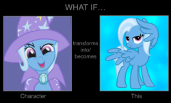 Size: 1050x630 | Tagged: cape, clothes, duality, edit, editor:mega-poneo, hat, meme, pegasus trixie, pony, race swap, safe, solo, transformation, trixie, trixie's cape, trixie's hat, wing hands, wings
