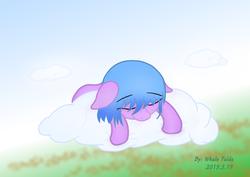 Size: 1414x1000   Tagged: safe, artist:whale falda, oc, oc only, pegasus, pony, cloud, sleeping, solo
