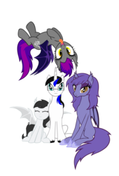 Size: 6200x9107 | Tagged: safe, artist:jackiejak, oc, oc:amelia, oc:jackie trades, oc:moonlight sonata, oc:nightfire, bat pony, pony, unicorn, bat pony oc, unshorn fetlocks, vector