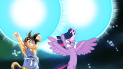 Size: 1280x720 | Tagged: alicorn, angery, angery pone, angry, armpits, barely pony related, dokkan battle, dragon ball gt, dragonball gt, genki dama, goku, kid goku, kid goku gt, safe, spirit bomb, twilight's kingdom, twilight sparkle, twilight sparkle (alicorn), universal spirt bomb