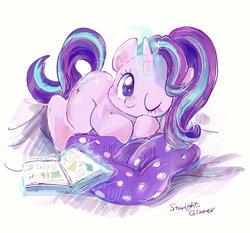 Size: 2048x1908 | Tagged: safe, artist:osawari64, starlight glimmer, pony, unicorn, book, cute, daaaaaaaaaaaw, female, glimmerbetes, kite, mare, one eye closed, pillow, solo, that pony sure does love kites, wink