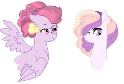 Size: 2532x1712 | Tagged: artist:rosebuddity, bust, earth pony, female, magical lesbian spawn, mare, oc, oc only, offspring, one eye closed, parent:pinkie pie, parent:rainbow dash, parents:pinkiedash, pegasus, pony, portrait, safe, simple background, transparent background, wink