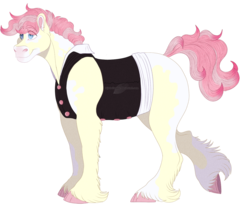 Size: 1233x1010 | Tagged: artist:bijutsuyoukai, clothes, magical lesbian spawn, male, oc, oc only, oc:sweetheart, offspring, parent:cherry jubilee, parent:nurse redheart, pony, safe, simple background, solo, stallion, transparent background, unshorn fetlocks, vest