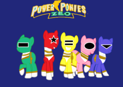Size: 1094x771   Tagged: safe, artist:cam-and-sister-paint, pony, blue ranger, chouriki sentai ohranger, crossover, green ranger, pink ranger, power rangers, power rangers zeo, red ranger, super sentai, yellow ranger