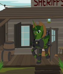 Size: 1931x2273 | Tagged: alicorn, armor, artificial alicorn, artist:grypher, commission, derpibooru exclusive, fallout equestria, fallout equestria: red 36, fanfic art, green alicorn (fo:e), hat, looking at you, oc, oc:sheriff green, power armor, safe, sheriff's badge, solo, vector