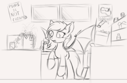 Size: 1980x1298 | Tagged: artist:krash42, bat pony, bat pony oc, beaker, clothes, cute, ear fluff, female, laboratory, mare, microscope, monochrome, newbie artist training grounds, oc, oc only, pony, poster, raised hoof, safe, socks, solo, spread wings, test tube, wings