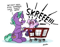 Size: 5205x4112 | Tagged: safe, artist:bobthedalek, firelight, starlight glimmer, pony, unicorn, cute, dialogue, father and daughter, female, filly, filly starlight glimmer, flailing, frown, glimmerbetes, grocery list, kite, list, madorable, male, open mouth, reeee, screaming, shopping, shopping cart, simple background, sitting, skree, stallion, tantrum, text, that pony sure does love kites, tongue out, underhoof, white background, wide eyes, younger