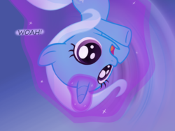 Size: 1200x900 | Tagged: age regression, artist:evil-dec0y, comic:trixie vs., comic:trixie vs. the moon, female, filly, filly trixie, levitation, magic, pony, safe, self-levitation, solo, telekinesis, trixie, younger