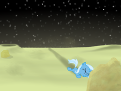 Size: 1200x900 | Tagged: safe, artist:evil-dec0y, trixie, pony, age regression, female, filly, filly trixie, moon, solo, younger