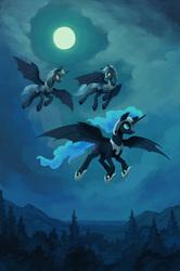 Size: 1200x1810 | Tagged: safe, artist:asimos, artist:kirillk, nightmare moon, alicorn, bat pony, bat pony alicorn, pony, armor, bat wings, collaboration, fanfic art, flying, full moon, helmet, hoof shoes, horn, male, moon, night, night guard, peytral, scenery, slit pupils, spread wings, stallion, trio, wings