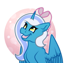 Size: 1200x1158 | Tagged: alicorn, alicorn oc, artist:funny-arts, bow, female, hair bow, happy, looking up, mare, oc, oc:fleurbelle, pony, safe, simple background, transparent background, yellow eyes