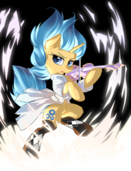 Size: 2900x3800 | Tagged: safe, artist:dreamweaverpony, oc, oc only, oc:astral charm, pony, unicorn, legends of equestria, bipedal, blue eyes, blue hair, clothes, coat, dexterous hooves, drawing, female, fluffy, hoof hold, lab coat, mare, music, musical instrument, musician, playing instrument, socks, solo, violin