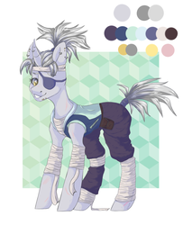 Size: 3338x4116 | Tagged: artist:hellishprogrammer, bandage, bandana, belt, clothes, ear piercing, earring, eyepatch, female, grin, hoodie, horn, horn piercing, jewelry, mare, ninja, oc, oc only, oc:silver-slash, pants, piercing, pony, ponytail, pouch, reference sheet, safe, scar, simple background, sleeveless, smiling, snake bites, solo, tape, white background
