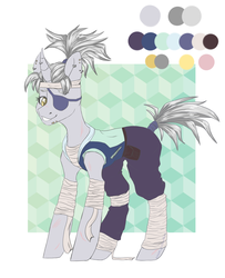 Size: 3338x4116 | Tagged: alternate version, artist:hellishprogrammer, bandage, bandana, belt, clothes, ear piercing, earring, eyepatch, female, grin, hoodie, horn, horn piercing, jewelry, mare, ninja, oc, oc only, oc:silver-slash, pants, piercing, pony, ponytail, pouch, reference sheet, safe, scar, simple background, sleeveless, smiling, snake bites, solo, tape, white background