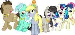 Size: 3490x1617 | Tagged: artist:jaybugjimmies, background six, bon bon, derpy hooves, dj pon-3, doctor whooves, elements of harmony, lyra heartstrings, octavia melody, safe, simple background, sweetie drops, time turner, transparent background, vinyl scratch