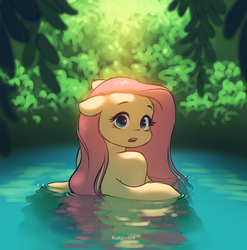 Size: 2522x2550 | Tagged: anthro, artist:katputze, casual nudity, cheek fluff, cute, female, floppy ears, fluttershy, frown, implied nudity, looking at you, looking back, looking back at you, mare, nature, nudity, open mouth, pegasus, safe, shyabetes, skinny dipping, solo, spread wings, surprised, water, wide eyes, wings