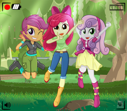 Size: 1057x924 | Tagged: safe, artist:charliexe, apple bloom, scootaloo, sweetie belle, equestria girls, adorabloom, belly button, belt, boots, bow, camera shot, clothes, cute, cutealoo, cutie mark crusaders, diasweetes, grass, hair bow, hairband, looking at you, one eye closed, open mouth, patreon, patreon logo, shoes, shorts, skirt, smiling, tree, wink