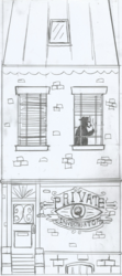 Size: 951x2140 | Tagged: safe, sunset shimmer, equestria girls, 1930s, blinds, building, detective, hand drawing, monochrome, noir, pencil drawing, private eye, private investigator, sign, silhouette, sunset's apartment, traditional art