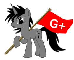 Size: 320x261 | Tagged: safe, artist:ruchiyoto, oc, oc:black cross, pony, flag, google plus, holding, memories