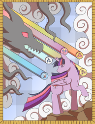 Size: 2550x3300 | Tagged: safe, artist:silverhyena, twilight sparkle, alicorn, pony, part of a series, part of a set, solo, stained glass, twilight sparkle (alicorn)