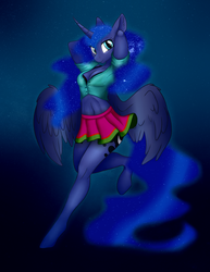 Size: 2078x2698 | Tagged: safe, artist:stasyan1902, artist:vincher, derpibooru exclusive, princess luna, alicorn, anthro, unguligrade anthro, armpits, belly button, bra, breasts, cleavage, clothes, collaboration, female, legs, looking at you, mare, midriff, miniskirt, pleated skirt, see-through, shirt, skirt, solo, underwear