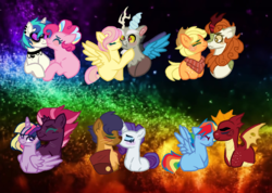 Size: 1088x774 | Tagged: alicorn, applejack, applejack's hat, artist:everythingf4ngirl, autumn blaze, autumnjack, blushing, capper dapperpaws, capperity, cowboy hat, discord, discoshy, dj pon-3, dragon, earth pony, female, fluttershy, freckles, garble, garbledash, hat, interspecies, lesbian, male, mane six, mare, neckerchief, pegasus, pinkie pie, pony, rainbow dash, rarity, safe, shipping, straight, tempestlight, tempest shadow, twilight sparkle, twilight sparkle (alicorn), unicorn, vinylpie, vinyl scratch, wall of tags