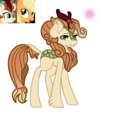 Size: 776x838 | Tagged: applejack, artist:chaoscy, autumn blaze, autumnjack, earth pony, female, freckles, hybrid, interspecies offspring, kirin, kirin hybrid, lesbian, magical lesbian spawn, mare, next generation, oc, offspring, parent:applejack, parent:autumn blaze, parents:autumnjack, pony, safe, shipping, simple background, unshorn fetlocks, white background