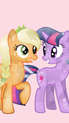 Size: 1081x1920 | Tagged: safe, artist:mlp-icons, applejack, twilight sparkle, crystal pony, earth pony, pony, unicorn, braid, crystallized, female, freckles, lesbian, mare, pink background, raised hoof, shipping, simple background, smiling, twijack, unicorn twilight