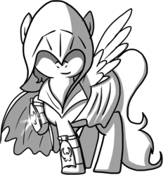 Size: 788x850 | Tagged: safe, artist:petirep, oc, oc only, pegasus, pony, buck legacy, assassin, black and white, blade, card art, clothes, covered eyes, grayscale, hidden blade, hood, looking at you, male, monochrome, night vision goggles, robe, simple background, solo, stealth suit, steampunk, transparent background