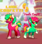 Size: 1800x1872 | Tagged: safe, artist:lilpinkghost, oc, oc only, oc:lime confetti, oc:vanilla confetti, pony, brother and sister, duo, female, green eyes, male, mare, pink hair, stallion