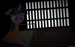 Size: 4701x2931   Tagged: safe, artist:cloudyglow, artist:stephen-fisher, twilight sparkle, pony, cell, clothes, crying, female, floppy ears, horn cap, jail, magic suppression, prison, prison outfit, prisoner, prisoner ts, sad, solo