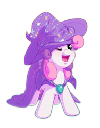 Size: 1100x1400 | Tagged: artist:bobdude0, bobdude0 is trying to murder us, cape, clothes, commission, costume, cute, diasweetes, female, filly, hat, mare, one eye closed, open mouth, pony, safe, simple background, solo, sweetie belle, transparent background, trixie's cape, trixie's hat, unicorn, wink