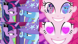 Size: 1078x608 | Tagged: alicorn, coinky-dink world, edit, edited screencap, eqg summertime shorts, equestria girls, female, heart eyes, lesbian, no second prances, pinkie pie, pinkie's eyes, safe, screencap, shipping, shipping domino, trixie, twilight sparkle, twilight sparkle (alicorn), twixie, wingding eyes