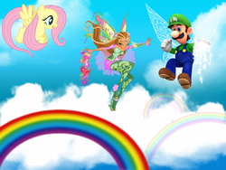 Size: 3008x2266 | Tagged: artist:dashiesparkle, artist:magical-mama, artist:user15432, bloomix, blue sky, cloud, crossover, fairy, fairy wings, flora, flora (winx club), fluttershy, flying, human, luigi, luigishy, magic, magic aura, nintendo, pegasus, pony, rainbow, rainbow s.r.l, safe, sky, super mario bros., super smash bros., wings, winx club