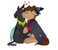 Size: 1148x990 | Tagged: artist:guiltyp, changedling, changeling, clothes, hat, male, nuzzling, oc, oc:clock, oc:forge, oc only, pony, safe, simple background, stallion, transparent background