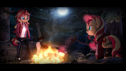 Size: 9600x5400   Tagged: safe, artist:imafutureguitarhero, sunset shimmer, pony, unicorn, anthro, plantigrade anthro, 3d, absurd file size, absurd resolution, acoustic guitar, adidas, anthro ponidox, anthro with ponies, bacon, black bars, boots, campfire, chromatic aberration, clothes, colored eyebrows, colored eyelashes, cooking, duo, egg, embers, female, fiery shimmer, film grain, fingerless gloves, fire, floppy ears, food, forest, frying pan, gloves, glow, grass, guitar, hoodie, horn, jacket, leather boots, leather gloves, lens flare, levitation, long hair, magic, mare, meat, moon, multicolored hair, multicolored mane, multicolored tail, musical instrument, night, nose wrinkle, open mouth, outdoors, pants, ponies eating meat, rock, sausage, self ponidox, shirt, shoes, smiling, sneakers, socks, source filmmaker, steak, telekinesis, tracksuit, tree, wall of tags