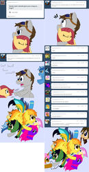 Size: 2564x4927 | Tagged: artist:phoenixswift, ask fuselight, braeburn, group hug, hug, oc, oc:blueberry blossom, oc:blue spirit, oc:candy swirl, oc:firenze, oc:fuselight, oc:ivory (askivory), oc:james hairspray, oc:kappa the kirin, oc:peaceful shimmer, oc:ruby, pony, pony pile, safe, soarin', spitfire