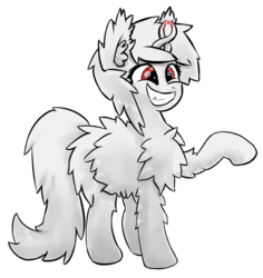 Size: 1449x1533 | Tagged: albino, artist:fluor1te, cute, female, fluffy, grin, magic, mare, oc, oc:asla praki, oc only, original species, raised hoof, red eyes, safe, shit eating grin, simple background, smiling, solo, teeth, transparent background