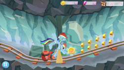 Size: 1334x750 | Tagged: safe, rainbow dash, bat pony, pegasus, pony, barrel, bat ponified, cute, dashabetes, female, game screencap, gameloft, mare, minecart, race swap, rainbowbat, self ponidox