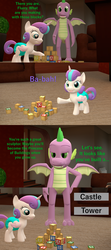 Size: 1920x4320 | Tagged: safe, artist:papadragon69, princess flurry heart, spike, alicorn, dragon, pony, comic:spike's cyosa, 3d, baby, blocks, choice, comic, crystal empire, cyoa, diaper, older, older spike, source filmmaker, teenage spike, teenager, winged spike