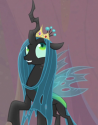 Size: 564x718   Tagged: safe, screencap, queen chrysalis, changeling, changeling queen, frenemies (episode), cropped, crown, female, jewelry, regalia, solo