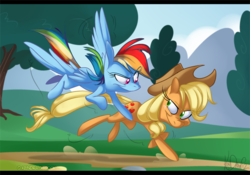 Size: 664x465   Tagged: safe, artist:kendraw, applejack, rainbow dash, earth pony, pegasus, pony, applejack's hat, cowboy hat, female, flying, hat, mare, road, running, stetson, tree