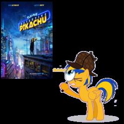 Size: 1209x1209   Tagged: safe, artist:mlpfan3991, oc, oc:flare spark, pony, deerstalker, detective, detective pikachu, hat, magnifying glass