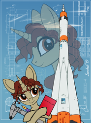 Size: 1590x2145 | Tagged: safe, artist:lunebat, oc, oc:blas ruis, pony, unicorn, blueprint, male, pen, present, rocket, solo, soyuz, stallion