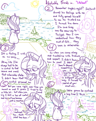 Size: 1280x1611 | Tagged: safe, artist:adorkabletwilightandfriends, spike, starlight glimmer, dragon, pony, unicorn, comic:adorkable twilight and friends, adorkable friends, adorkable twilight, car, cloud, coast, comic, confusion, conversation, emotion, feelings, feels, forest, frustration, implied oc, implied oc:greg, implied sunburst, island, lineart, love, ocean, relationships, sad, scenery, sitting, slice of life, upset