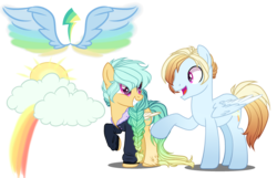 Size: 3100x2000 | Tagged: safe, artist:gihhbloonde, oc, oc only, pegasus, pony, female, male, mare, offspring, parent:rainbow dash, parent:zephyr breeze, parents:zephdash, simple background, stallion, transparent background