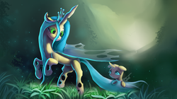 Size: 4000x2232 | Tagged: artist:auroriia, changeling, cute, cuteling, female, floppy ears, grass, looking at each other, mommy chrissy, nervous, queen chrysalis, safe